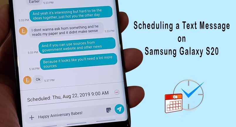 schedule text message on galaxy s20